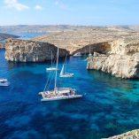 The Crystal Lagoon on Comino island in Malta.