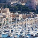 Docked yachts in the harbour of Valletta, Malta